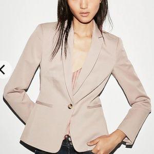 Express Notch Collar One Button Blazer - Pale Pink